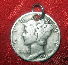 VINTAGE ANTIQUE 1944 MERCURY DIME STERLING SILVER COIN PENDANT CHARM NECKLACE