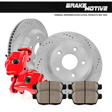 Rear Red Brake Calipers and Rotors & Pads 2003 2004 2005 2006 2007 JEEP LIBERTY