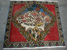 An OLD HANDMADE PERSIAN Pictorial Oriental wool Multi-Colour Rug 73x82cm