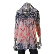 Style & Co. Sport 4350 Womens Pink Hooded Rhinestone Printed Casual Top XL BHFO