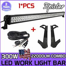 52Inch 300W Combo Led Light bar+Mount Brackets Fit For Jeep Wrangler JK+Wire Kit