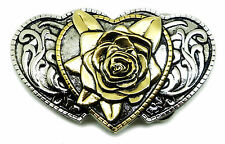 Rose & Hearts Belt Buckle Womens Floral Western Authentic White Wolf 24ct Gold