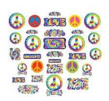 30 FEELING GROOVY CUTOUTS PEACE SIGNS 60'S 70'S PARTY HANGING DECORATIONS HIPPIE