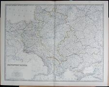 1875 EXTRA LARGE ANTIQUE MAP - SOUTH-WEST  RUSSIA SHOWING POLAND PRIOR TO 1772