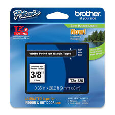"Brother TZ325 TZe325 9mm 3/8"" white on black label ptouch tape PT D200 H100 2730"