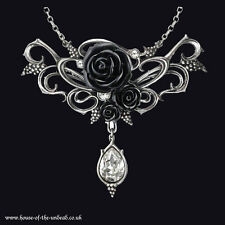 Alchemy Gothic Bacchanal Rose pendant.  Black Rose & Grapes Swarovski crystal.