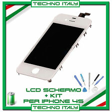 TOUCH SCREEN VETRO SCHERMO + LCD Display Assemblato + KIT PER iPhone 4S BIANCO