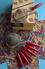 "NEW Vintage Ekco 8"" Strainer w/Red Wooden Handle (NOS) Excellent Condition!"