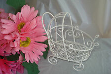 Mini Wire Baby Carriage  - For Baby Shower Decorations - White - Item 1275W