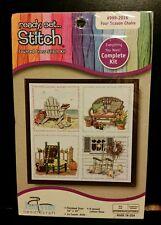 """16"""" x 16"""" Janlynn Ready Set Stitch 4 Seasons Chairs Counted Cross Stitch Kit NEW"""