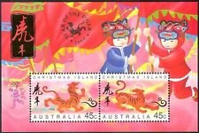 Christmas Island 1998 YO Tiger/Greetings/Animals/Lunar Zodiac/Luck 2v m/s b7199
