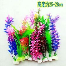 10pc Artificial Aquarium Fish Tank Green Glass Flower Plants Decoration Ornament