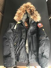 Parajumpers Men's MEDIUM Black Fur Parka- preowned/no defects *MINT CONDITION*