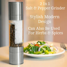 Duel Large Stainless Steel Salt And Pepper Grinder Set Mill Metal 22cm Chrome