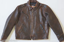 Harley Davidson Men Brown Distressed Embossed Leather Vintage 90's Jacket L Rare