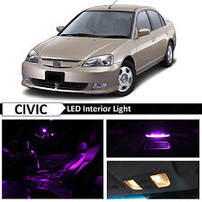 Purple Interior LED Light Package Kit 2001-2005 Honda Civic Sedan Coupe + TOOL