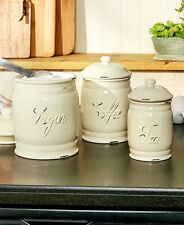 Set 3 Classic White Ceramic Kitchen Sugar Coffee Tea Canister Storage Jars NEW