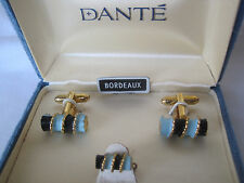 Dante Bordeaux Cufflinks & Tie Tack, Black and Blue Enamel, New Old Stock
