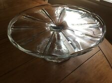 """Footed Glass Vintage Cake Stand Plate 4.5"""" Tall"""