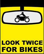 "Look Twice For Bikes Humor Funny Sign Car Bumper Sticker Decal 4"" x 5"""