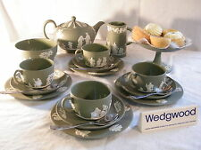 "Magnificent ""Wedgwood Green Jasper Ware"" 20 piece Afternoon ""Tea Set "" , Superb."