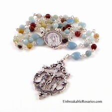 Holy Face Jesus Rosary Beads Amazonite Hearts Magdalene X Unbreakable Rosaries