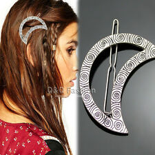 Tribal Silver Mayan Gypsy Swirl Crescent Moon Hair Pin Clip Dress Snap Barrette