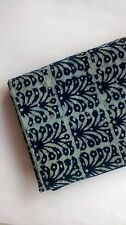 Cotton Indigo white Dabu printed fabric - bush design