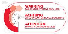 Achtung Zeitschloss Sticker Tresor-Aufkleber, Warn-Aufkleber Öffnungsverzögerung