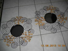 2 Beautiful Home Decor Metal Mirrors w/ Gold Flower Accents