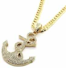 """Mens Gold Iced Out Boat Anchor Pendant Hip-Hop 30"""" Inch Cuban Necklace Chain"""