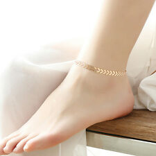 Womens Beach Barefoot Gold Silver Tone Chain Anklet Bracelet Foot Chain Jewelry