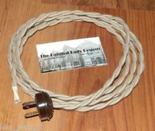 TAN ~ 8' Vintage Lamp Cord ~ Twisted Cloth Covered Wire w/ Acorn Plug ~ by PLD