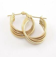Solid 14K Yellow Gold Plain Ribbed Spiral Twist Hoop Earrings A2