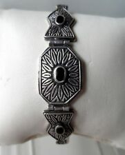 Brand New Antique Art Deco Style Oxidised Sterling Silver Bracelet - 7.5inch