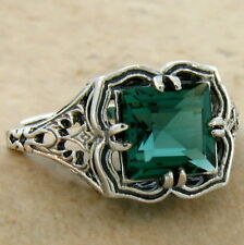 GREEN SIM EMERALD ANTIQUE FILIGREE DESIGN 925 STERLING SILVER RING SIZE 8,  #704