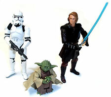 STAR WARS Clone Wars Set of 3 YODA , ANAKIN & CLONE TROOPER toy figures set lot