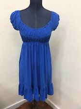 Muse Sz S Royal Blue Peasant Dress Empire Waist