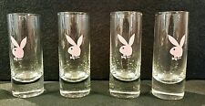 "Set of 4 Pink Playboy Bunny Shot Glasses glass lot 4"" tall"