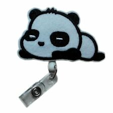 Retractable Fashionable Cute Lovely Applique Panda Reels ID Card Badge Holders