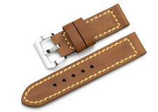 24mm Genuine Asso Leather Watch Band Strap Steel Pin Clasp Wristband For Panerai