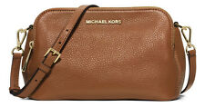 NWT MICHAEL KORS BEDFORD MEDIUM DOUBLE ZIP LEATHER CROSSBODY BAG LUGGAGE