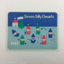 Sanrio vintage SEVEN SILLY DWARFS New Rare Sticker Unused Dated 1979