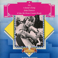 """John Denver """"Annie's Song / Country Roads"""" NM U.K. Old Gold 45 w/ Picture Sleeve"""
