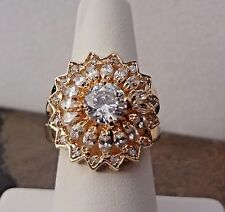 Lenox Cluster Ring- Faceted CZ Crystals - Gold Tone - Size 7- Super Pretty! NEW