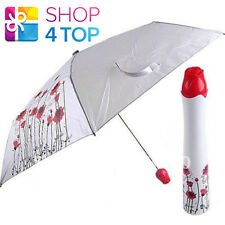 ROSE UMBRELLA RED WHITE RAIN FLOWER SHAPED HANDLE DECOR WOMAN NOVELTY GIFTS NEW