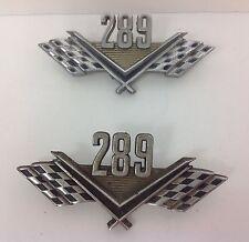 Vintage Ford 289 Chrome Checkered Flag Emblems Set of 2 Original Genuine Trim