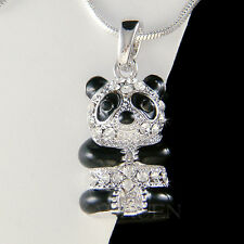 w Swarovski Crystal ~Black White Cute PANDA BEAR~ Chinese China Necklace Jewelry