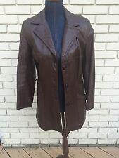 Kirks Suede Life Leather Jacket Vtg 70s Car Coat Brown Button Up Slim Mid Length