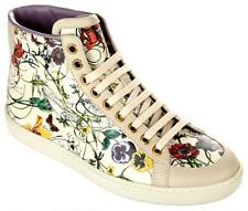 NEW GUCCI LADIES MULTI-COLORED FLORAL LEATHER HIGH TOP SNEAKERS SHOES 40G/10.5